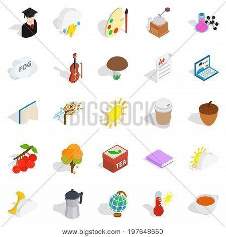 Academic year icons set. Isometric set of 25 academic year vector icons for web isolated on white background