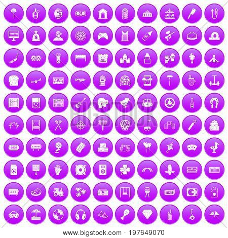 100 entertainment icons set in purple circle isolated on white vector illustration