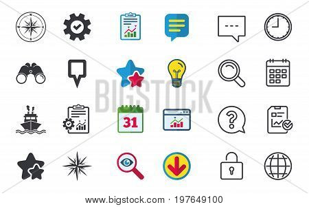 Windrose navigation compass icons. Shipping delivery sign. Location map pointer symbol. Chat, Report and Calendar signs. Stars, Statistics and Download icons. Question, Clock and Globe. Vector