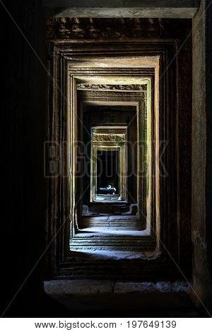 Inside of Angkor Wat temples Siem Reap Cambodia
