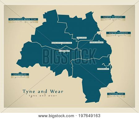 Modern Map - Tyne And Wear Metropolitan County England Uk Illustration