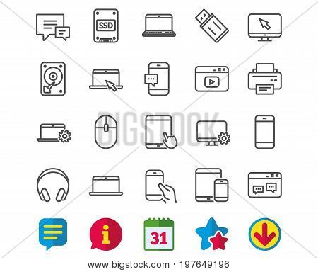 Mobile Devices line icons. Set of Laptop, Tablet PC and Smartphone signs. HDD, SSD and Flash drives. Headphones, Printer and Mouse symbols. Chat speech bubbles. Vector