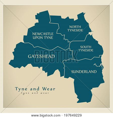 Modern Map - Tyne And Wear Metropolitan County With District Captions England Uk Illustration