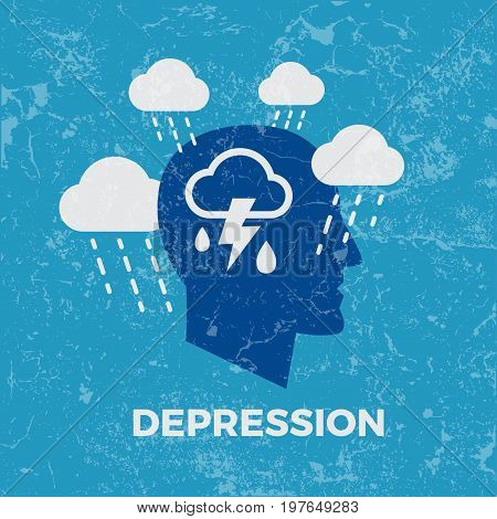 Depression. Concept vector illustration on blue background