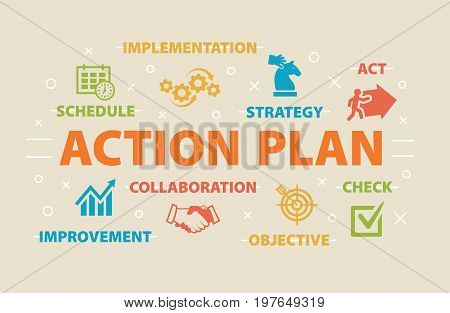 ACTION PLAN Concept with icons and signs