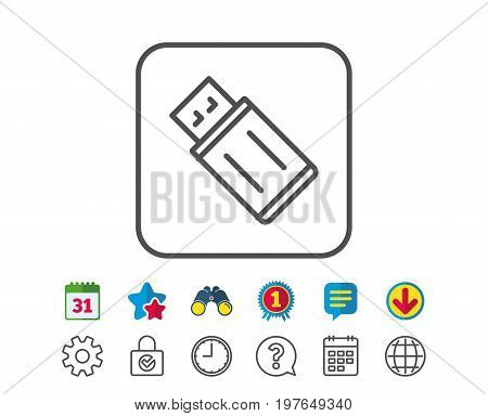 USB flash drive line icon. Memory stick sign. Portable data storage symbol. Calendar, Globe and Chat line signs. Binoculars, Award and Download icons. Editable stroke. Vector