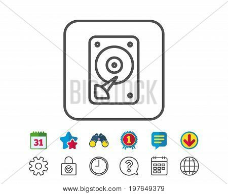 HDD icon. Hard disk storage sign. Hard drive memory symbol. Calendar, Globe and Chat line signs. Binoculars, Award and Download icons. Editable stroke. Vector