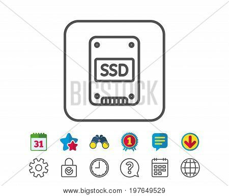 SSD icon. Solid-state drive sign. Storage disk symbol. Calendar, Globe and Chat line signs. Binoculars, Award and Download icons. Editable stroke. Vector