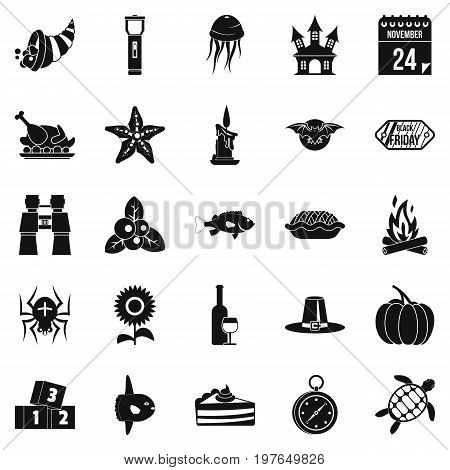 Autumn walk icons set. Simple set of 25 autumn walk vector icons for web isolated on white background
