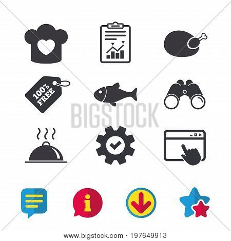 Chief hat with heart and cooking pan icons. Fish and chicken signs. Hot food platter serving symbol. Browser window, Report and Service signs. Binoculars, Information and Download icons. Vector
