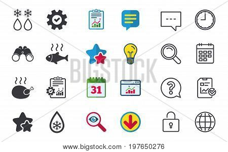 Defrosting drop and snowflake icons. Hot fish and chicken signs. From ice to water symbol. Chat, Report and Calendar signs. Stars, Statistics and Download icons. Question, Clock and Globe. Vector