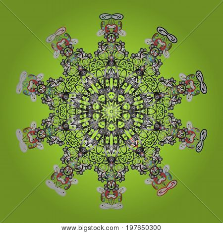 Snowflake ornamental pattern. Flat design of snowflakes on colorful background. Vector illustration. Snowflakes pattern. Snowflakes background.