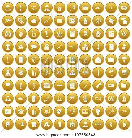 100 violation icons set in gold circle isolated on white vectr illustration