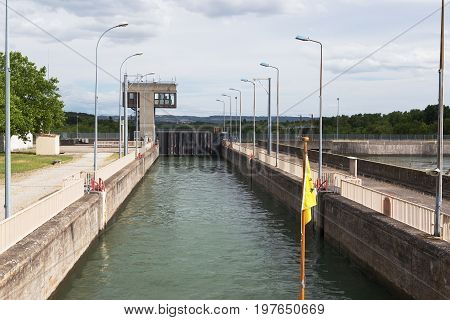 The Chana Lock, One Of Many On The Rhone, France