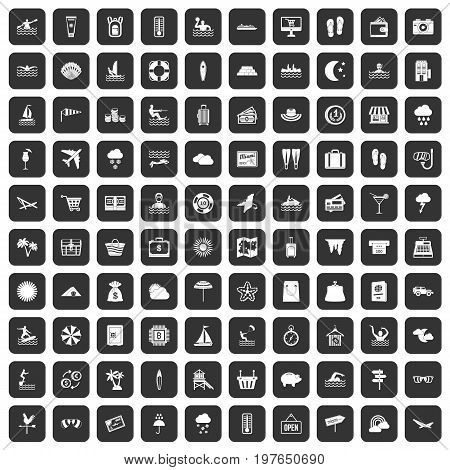 100 seaside resort icons set in black color isolated vector illustration