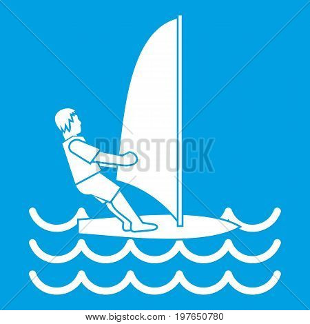 Man on windsurf icon white isolated on blue background vector illustration