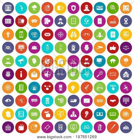 100 security icons set in different colors circle isolated vector illustration