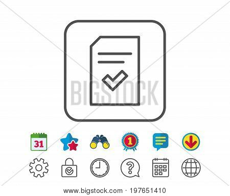 Checked Document line icon. Information File with Check sign. Correct Paper page concept symbol. Calendar, Globe and Chat line signs. Binoculars, Award and Download icons. Editable stroke. Vector