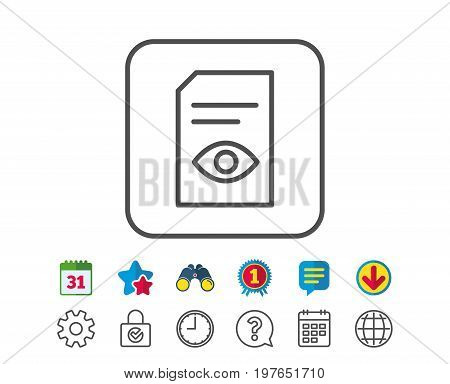 View Document line icon. Open Information File sign. Paper page with Eye concept symbol. Calendar, Globe and Chat line signs. Binoculars, Award and Download icons. Editable stroke. Vector