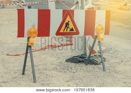 Road Under Construction With Warning Signs 2
