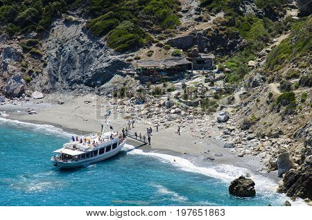 Skiathos, Greece, July 14, 2017: Cruise Boat With Tourists. Sailing Around The Islands On The Turquo