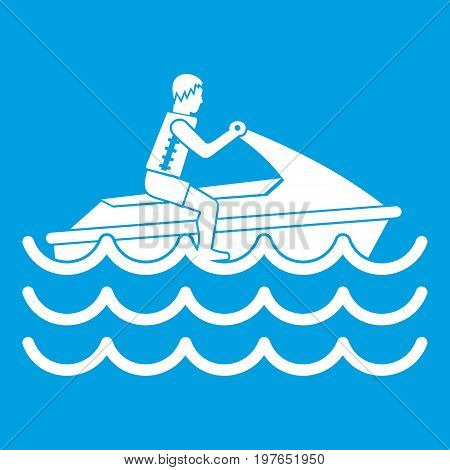 Man on jet ski rides icon white isolated on blue background vector illustration