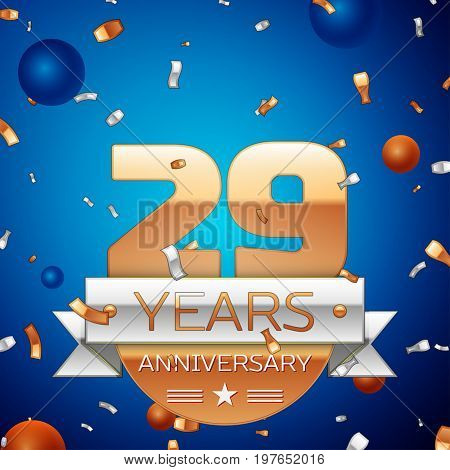 Realistic Twenty nine Years Anniversary Celebration Design. Golden numbers and silver ribbon, confetti on blue background. Colorful Vector template elements for your birthday party. Anniversary ribbon