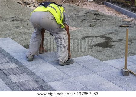 Sidewalk Paver Installation In Progress