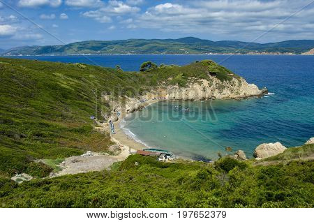 View From The Top Of The Beach Of Krifi Amos On The Island Of Skiathos Greece