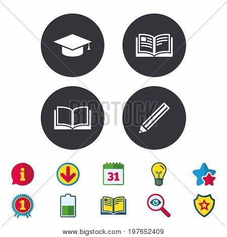Pencil and open book icons. Graduation cap symbol. Higher education learn signs. Calendar, Information and Download signs. Stars, Award and Book icons. Light bulb, Shield and Search. Vector
