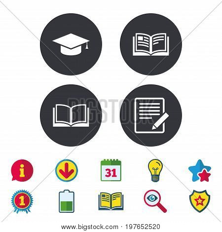Pencil with document and open book icons. Graduation cap symbol. Higher education learn signs. Calendar, Information and Download signs. Stars, Award and Book icons. Light bulb, Shield and Search