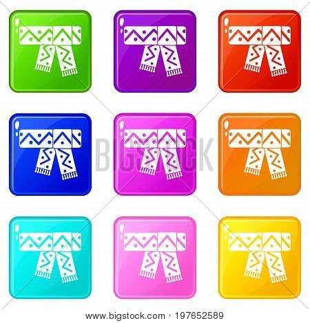 Knitted scarf with pattern icons of 9 color set isolated vector illustration