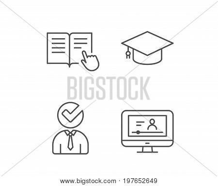 Instructions, Graduation cap and Video tutorial line icons. Student, Check and Internet Lectures signs. Hand cursor or pointer. Quality design elements. Editable stroke. Vector