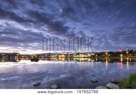 Beautiful summer night in reykjavik the capital of Iceland
