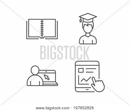 Book, Student and Online tutorial line icons. Bachelor, Presentation on Tablet PC and Internet Lectures signs. Hand cursor or pointer. Quality design elements. Editable stroke. Vector