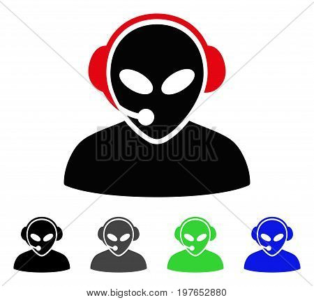 Alien Call Center flat vector pictograph. Colored alien call center gray, black, blue, green icon variants. Flat icon style for web design.