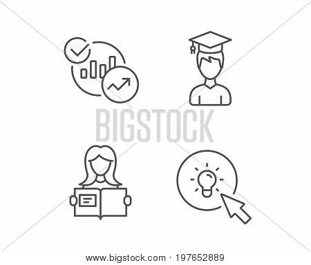 Woman hold book, Charts and Idea line icons. Bachelor or Master, Education and Instructions signs. Quality design elements. Editable stroke. Vector