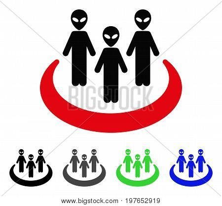Alien Community flat vector pictogram. Colored alien community gray, black, blue, green icon versions. Flat icon style for graphic design.