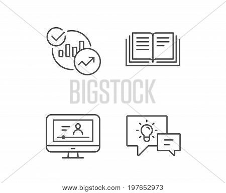 Book, Charts and Video tutorial line icons. Communication speech bubbles, Instruction and Internet Lectures signs. Quality design elements. Editable stroke. Vector
