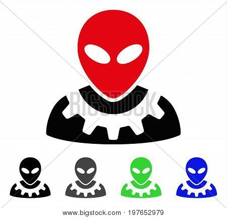 Alien Engineer flat vector pictogram. Colored alien engineer gray, black, blue, green pictogram versions. Flat icon style for application design.