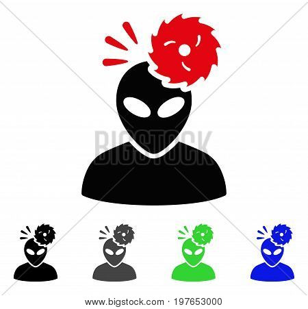 Alien Exploration flat vector pictogram. Colored alien exploration gray, black, blue, green icon versions. Flat icon style for graphic design.