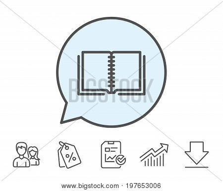 Book line icon. Education symbol. Instruction or E-learning sign. Report, Sale Coupons and Chart line signs. Download, Group icons. Editable stroke. Vector