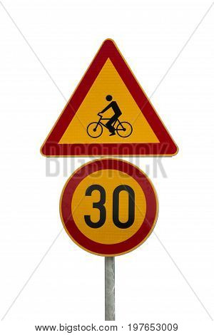 Traffic Signs For Bicycle Traffic And Speed Limit