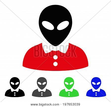 Alien Female flat vector icon. Colored alien female gray, black, blue, green icon versions. Flat icon style for application design.