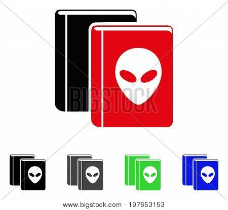 Alien Library flat vector icon. Colored alien library gray, black, blue, green pictogram variants. Flat icon style for graphic design.