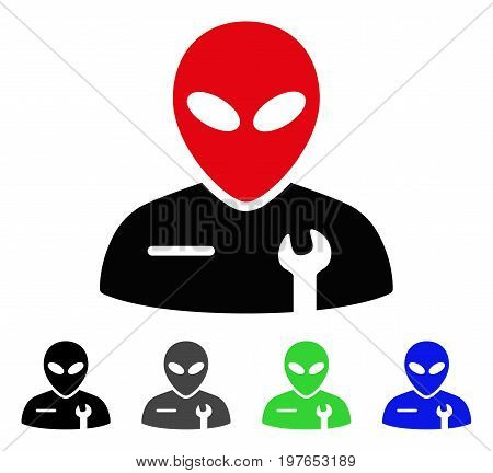 Alien Mechanic flat vector illustration. Colored alien mechanic gray, black, blue, green pictogram variants. Flat icon style for graphic design.