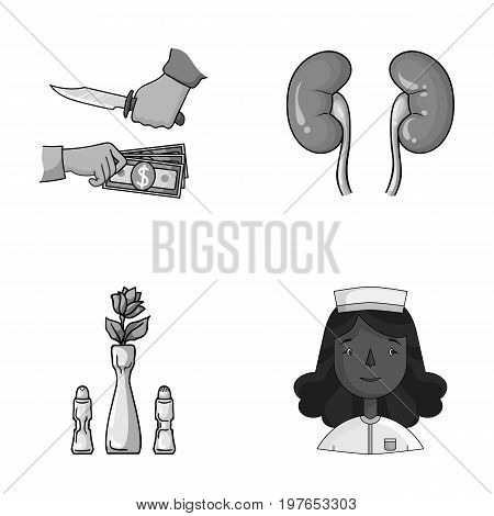 Restaurant, robbery and other  icon in cartoon style.medicine, profession icons in set collection.