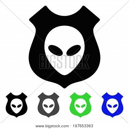 Alien Shield flat vector pictograph. Colored alien shield gray, black, blue, green pictogram versions. Flat icon style for graphic design.