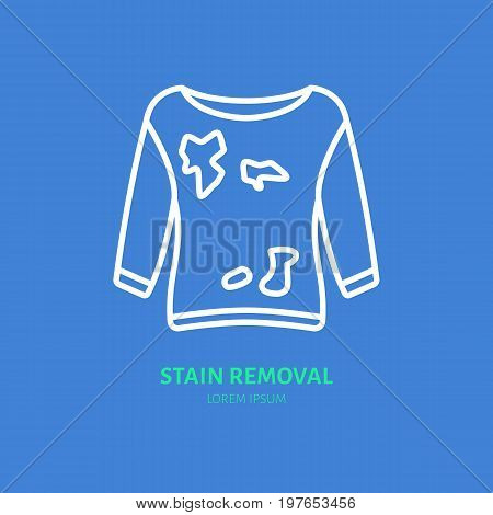 Dirty clothes stain removal icon, dry cleaning line logo. Flat sign for launderette service. Logotype for self-service laundry, clothing business.