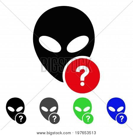 Alien Status flat vector pictogram. Colored alien status gray, black, blue, green icon variants. Flat icon style for web design.